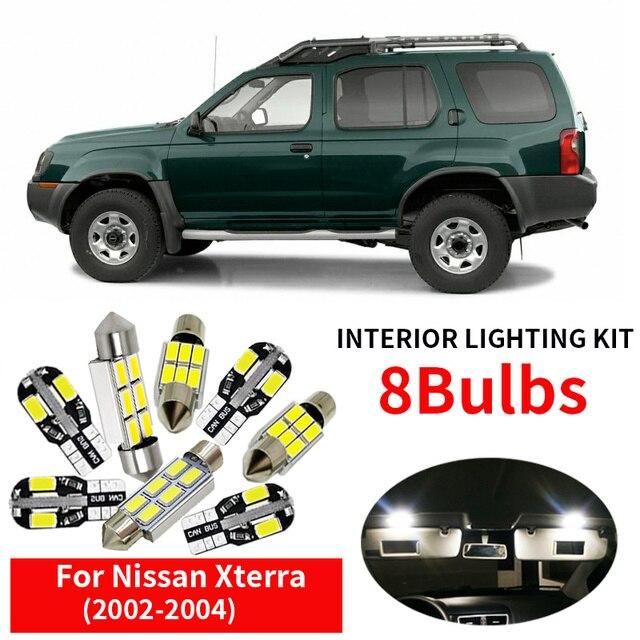 8 قطعة السيارات سيارة LED مصابيح كهربائية الداخلية عدة ل 2002 2003 2004 نيسان Xterra12V الأبيض خريطة قبة جذع رخصة لوحة ضوء