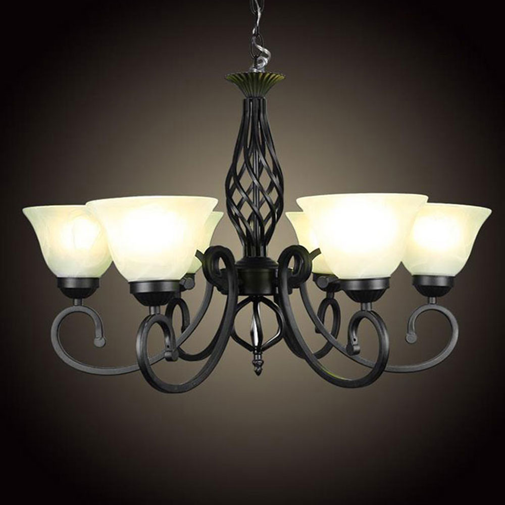 european wrough iron retro living room chandelier dining room bedroom lustre hanging lighting. Black Bedroom Furniture Sets. Home Design Ideas