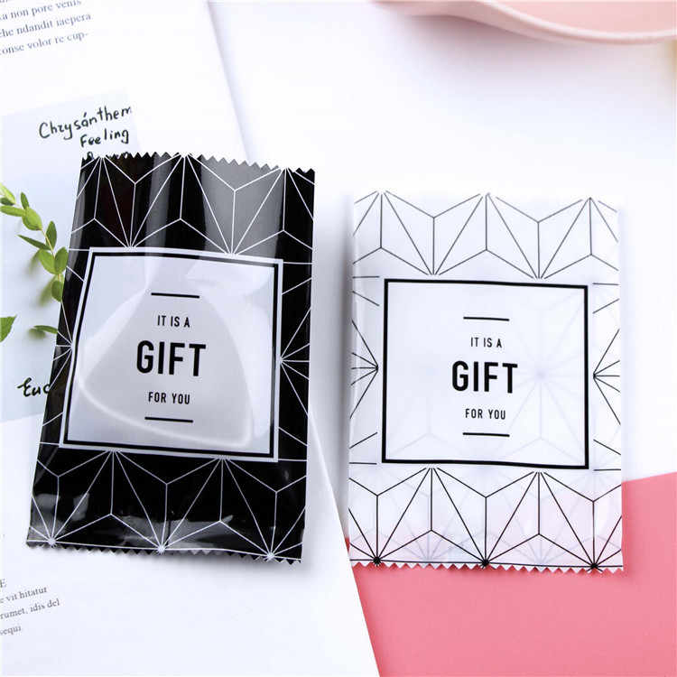 "100pcs Open Top ""GIFT"" Black and white lines Plastic Pouch Heat seal Gift packaging Bags for cookies candies Chocolate soap"
