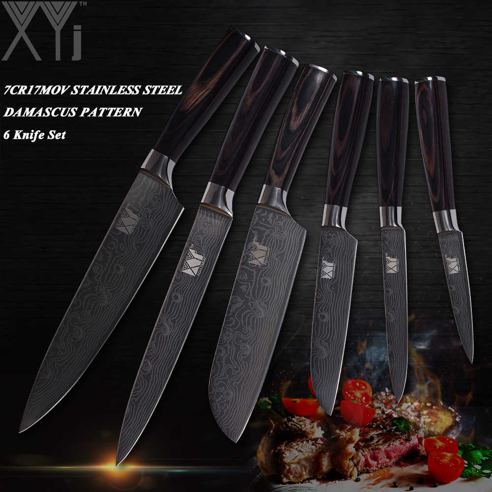 XYj יפני סגנון שף סכיני סט נירוסטה מטבח סכין סט 6 Pcs לייזר דפוס בישול סכין מאסטר עיצוב מטבח