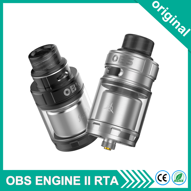 Original Electronic Cigarette OBS Engine II 2 RTA Tank 26mm 5ml Capacity Dual Coil 304 Stainless Steel For Box Mod Hotcig