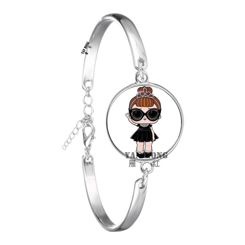 Красивый кукольный стеклянный браслет 20 мм стеклянный купол мультфильм ювелирные изделия круглый стеклянный браслет детский очаровательный подарок - Окраска металла: 9