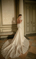 Custom Made Spaghetti Strap Applique Lace Mermaid Applique Lace Berta Bridal Wedding Dress