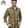 AFS JEEP Large size M-5XL 2016 European men's casual brand spring plaid long sleeve shirt man 100% cotton grid loose full shirts