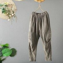 купить!  Хлопок Белье Шаровары Женщины 2019 Весна-Лето Мода Свободные Случайные Морщинки Плиссированные Брюки