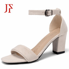 JF 2019 womens sandals thick with Korean version of the word buckle suede wild open toe Roman women