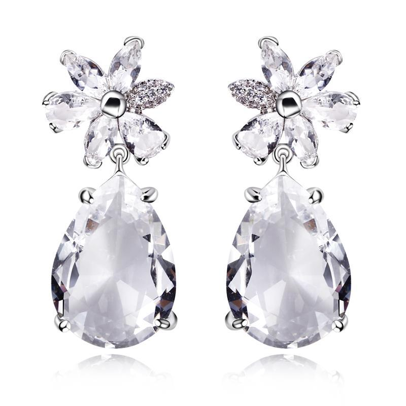 Big stone earrings High Quality Cubic Zirconia earrings Real gold ...