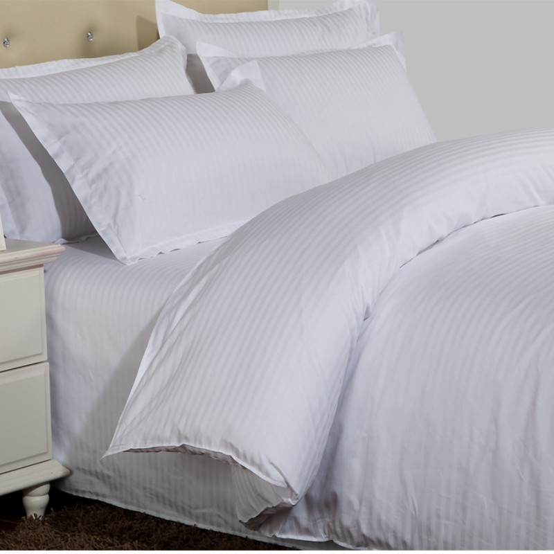 1PC Hotel White Duvet Cover Pure Stripes Hotel Duvet Covers 100% Satin Cotton Quilt Cover Top Quality Premium Bedding
