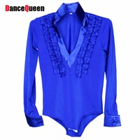 2015 Child Latin Dance Tops Blue Purple Red White Long Sleeve Dance Dress Clothing For The
