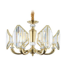 Real Full Copper Chandelier for Bedroom Dining Living Room Nordic Bronze Luxury Crystal Indoor Lighting