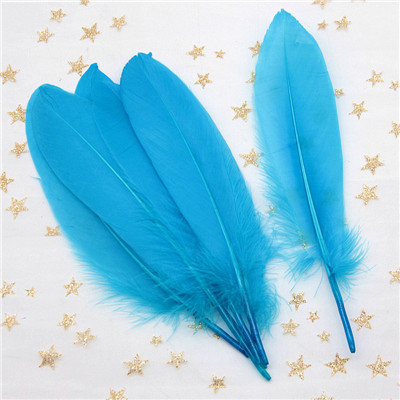 Натуральные лебединые перья 14-20 см, многоцветные гусиные перья, шлейф для рукоделия, свадебных украшений, рукоделия, украшения для дома, 50 шт - Цвет: lake blue 50pcs