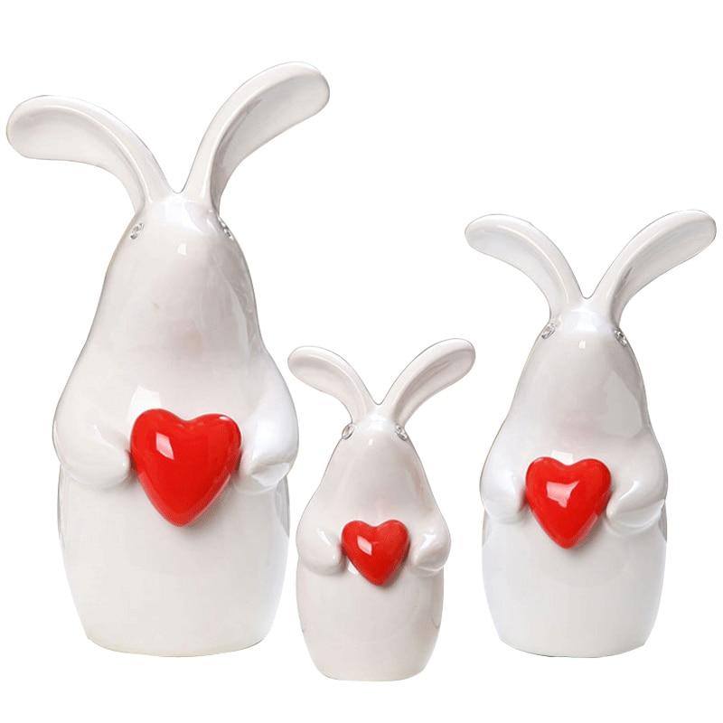 Фарфор милый три любовь кролики домашний декор ремесла украшение комнаты ремесло орнамент керамические фигурки животных подарки на день р...