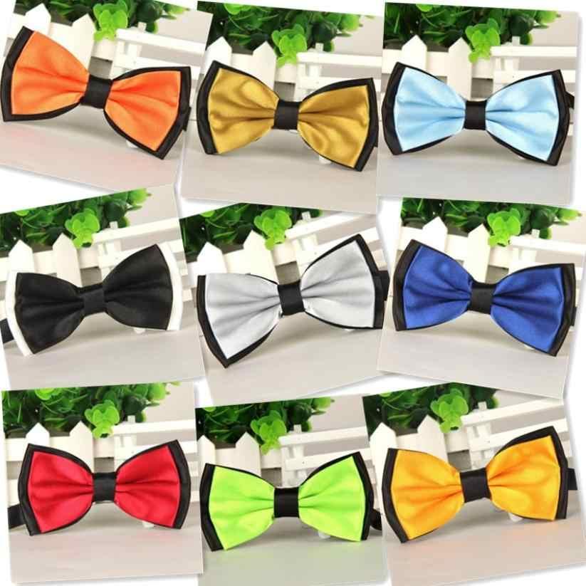 Fairy lu noeud papillon réglable fête de mariage hommes femmes gravata-borboleta couleur unie cravate Polyester noeud papillon homme robe cadeau # W