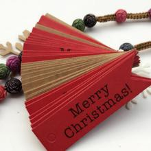 100Pcs/Set Merry Christmas Kraft Tags with 10m Rope Christmas Decoration