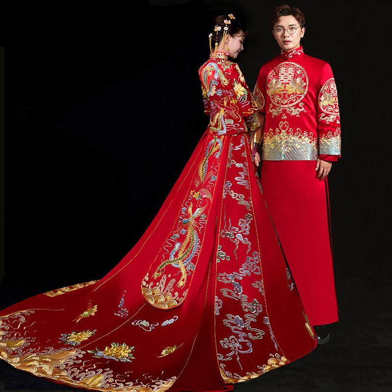 Qipao Wedding Gown: Bride Groom Cheongsam Vintage Chinese Style Wedding Dress