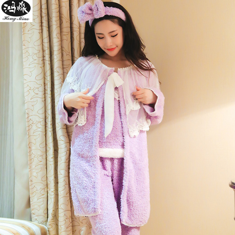 Women 4 Pieces Pajamas Sets 2018 Winter Long Sleeve Warm Pajamas Suits Female Sweet Cute Lace Patchwork Sleepwear With Hair Band