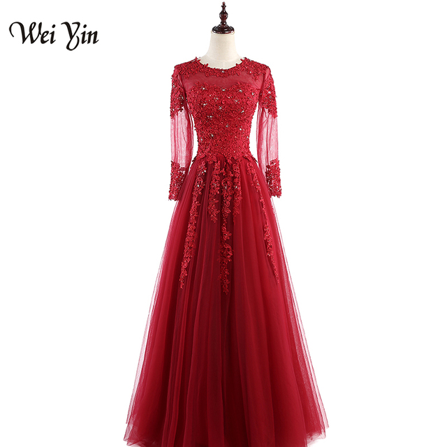 WEIYIN Women Evening Dress Wine Red Sexy Long Sleeve Lace Tulle Crystal  Straight Formal Prom Dress Vestido De Festa WEIYIN 383 52f13496dc4a