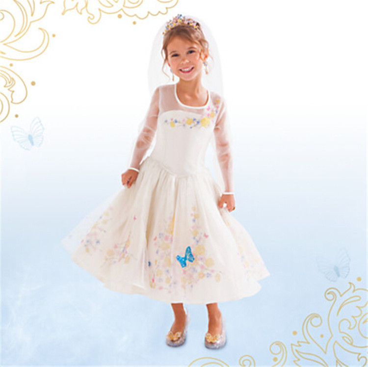 Fashion polyester nylon satin kids halloween costumes for girls cinderella princess bride costume dress