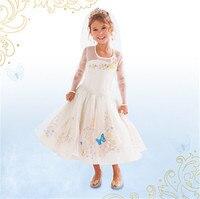 Mode polyester nylon satin enfants halloween costumes pour filles cendrillon princesse mariée costume robe