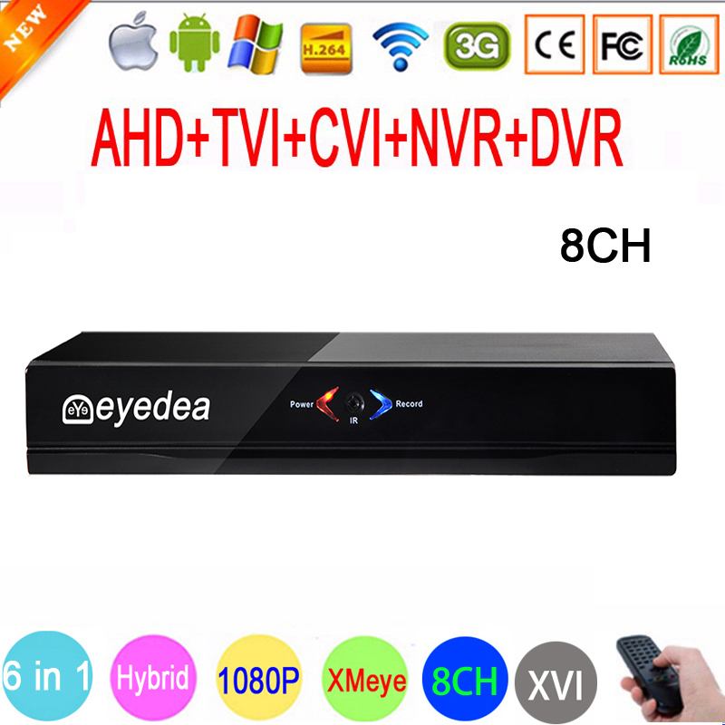 Eyedea 8Channel Hybrid 6 in 1 DVR H.264 1080N 960P 720P CCTV NVR 8CH Security Video Recorder Motion Detect ONVIF P2P AHD DVR smar hybrid 5 in 1 dvr 8ch 1080n ahd dvr home security h 264 video recorder onvif xmeye p2p network cctv dvr system