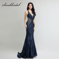 Latest Gown Design Long Mermaid Evening Dresses Elegant V Neck Sequined Women Dress Hot Sale Formal