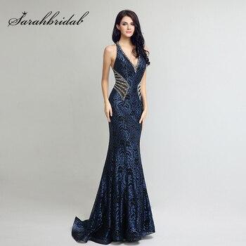 06d8bc04c Vestido elegante diseño largo sirena vestidos de noche Sexy V cuello Cordón  de las mujeres Plus tamaño Venta caliente Formal vestidos fiesta LX235