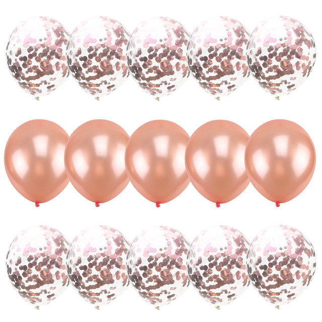 15pcs Mix Confetti Latex Balloons Hot Pink Blue Rose Gold for Baby Shower Happy Birthday Party Decorations Wedding Balloons