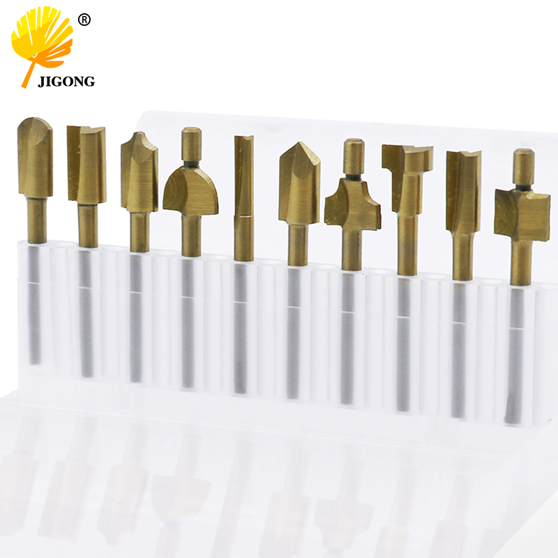10pcs Set Box 3mm HSS Titanium Router Bits Wood Cutter Milling Fits Rotary Tool Engraving Machine Knife Sharpening Slot