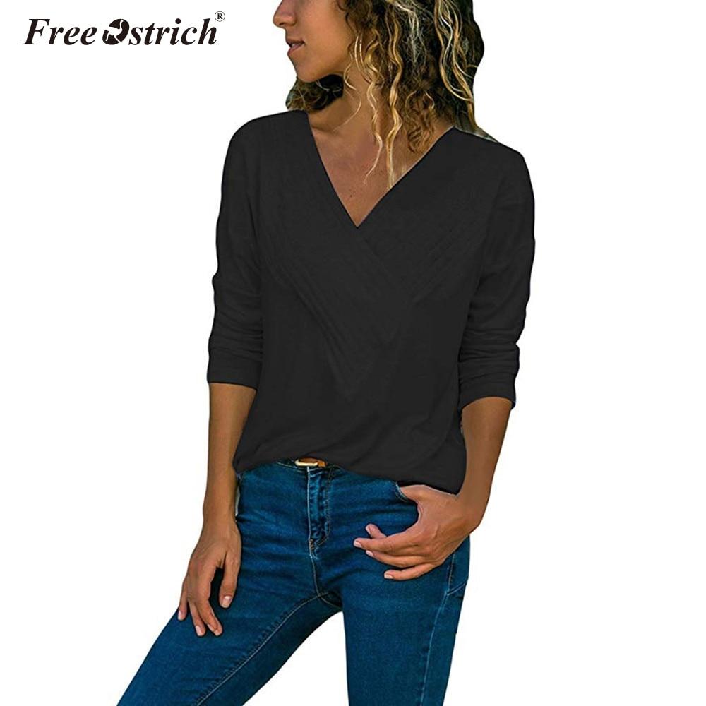 Gratuit autruche femmes blouses solide col en V décontracté enveloppement avant col en V manches longues coupe ample basique fille Blouse petit haut Polyester
