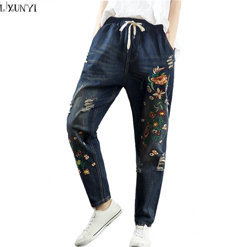 LXUNYI New 2017 Autumn Vintage Embroidery Loose jeans Women Drawstring High Waist jeans Woman Haren Pants Ladies Denim Trousers