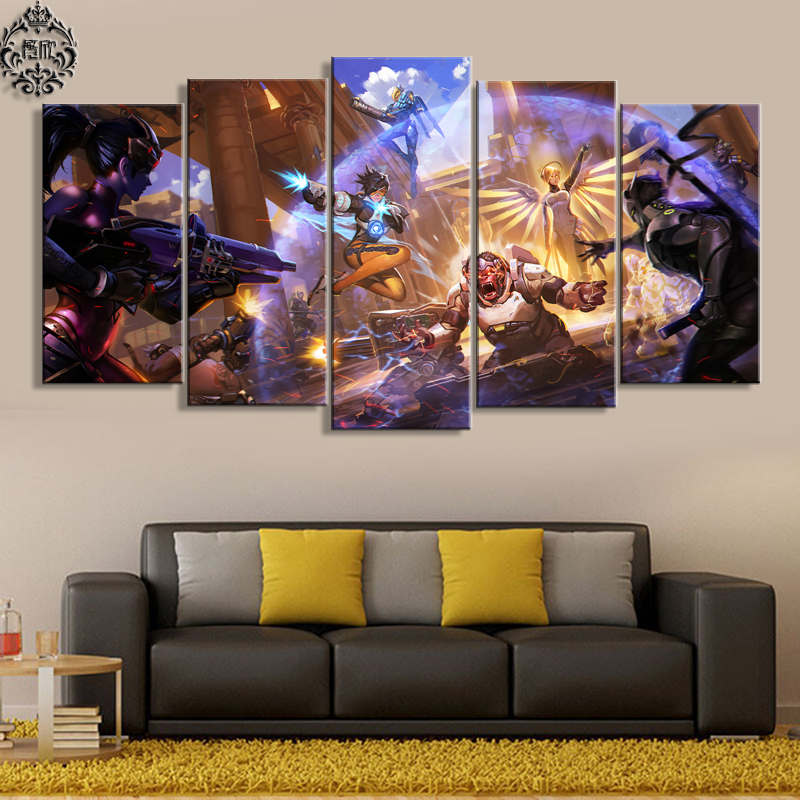 Wall Art Painting Artwork 5 Panel Overwatch Game Poster