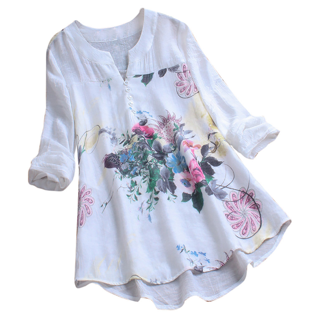 Large Size Vintage Blouse Shirt Women Floral Print Patchwork V Neck Long Tops Long Sleeves Lace Splicing Blouse Mujer *