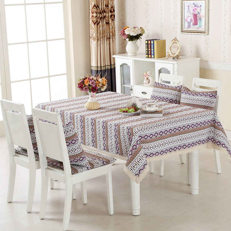 Cotton linen pastoral printing lace rectangel 130*180cm tablecloth restaurant table cloth cover matched chair cushion 2 types