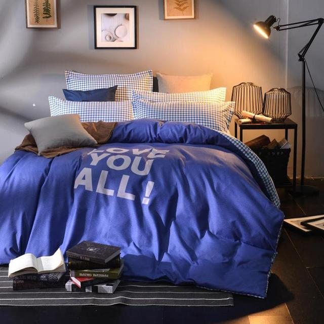 Dark Blue Solid Queen Size Bedding Sets Twill Sanding Thick Double Bed Kit Bed  Sheets Quilt