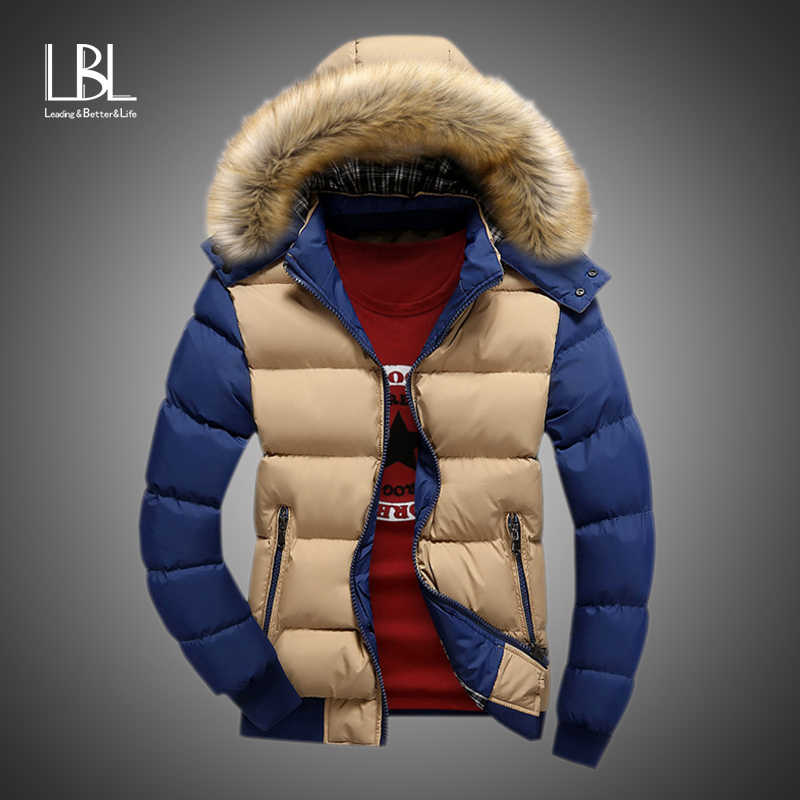 Winter Fur Hooded Coat Men Casual Hoodies Cotton Padding Parka Mens Brand Waterproof Clothing Patchwork Windbreaker Jackets Men