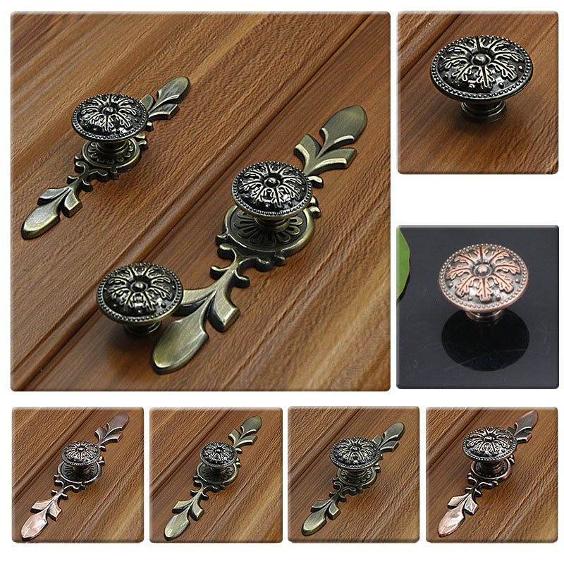 MEGAIRON Vintage Antique Copper/Bronze Door Knob Cabinets Shoebox Pulls Closet Handle Drawer Knobs Pull Handles + Screws royal european pearl white entrance gate door handle pull with screws closet bedroom