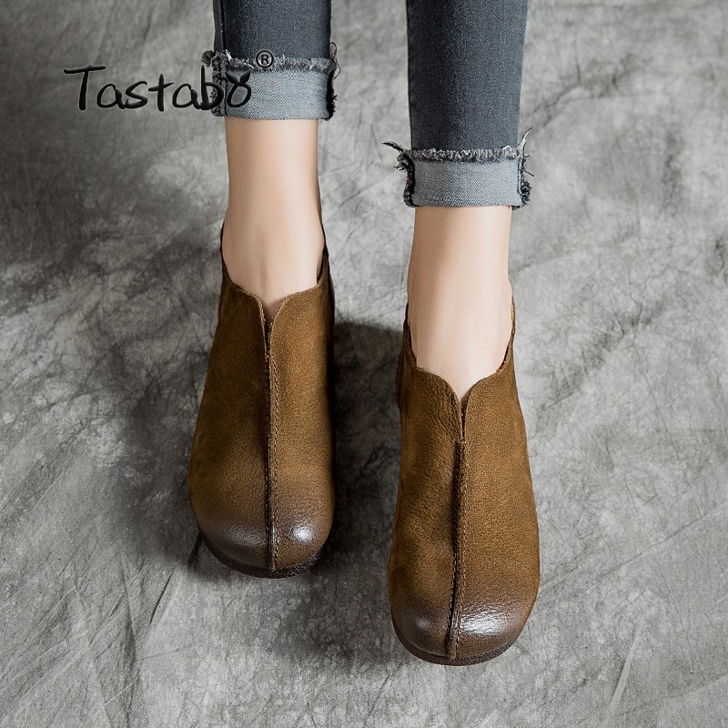 Tastabo Leather women's shoes flat Woman Shoe Handmade Genuine Leather Comfortable Shoes for Women Casual wild Zipper design-in Women's Flats from Shoes    1