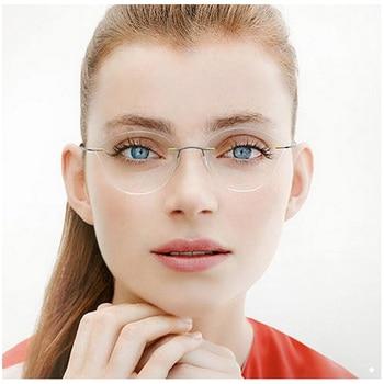 buscar el más nuevo moda atractiva gran inventario Aleación de titanio Marco de gafas de prescripción Semi sin montura para  hombres gafas ópticas de ...