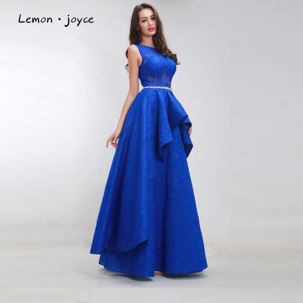 Aliexpress Com Buy Simple Elegant See Through Lace Part: Royal Blue Prom Dresses 2017 For Women Sleeveless Simple