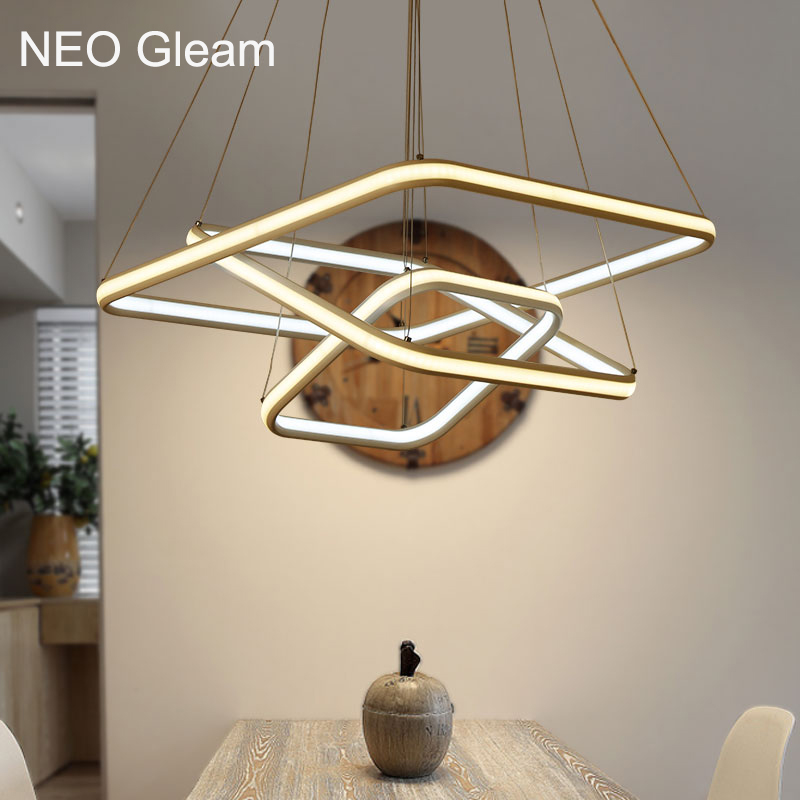 NEO Gleam High Brightness Double Glow Modern Led Pendant Hanging Lights Lamp For Kitchen Living Dinging Room Fixtures Aluminum