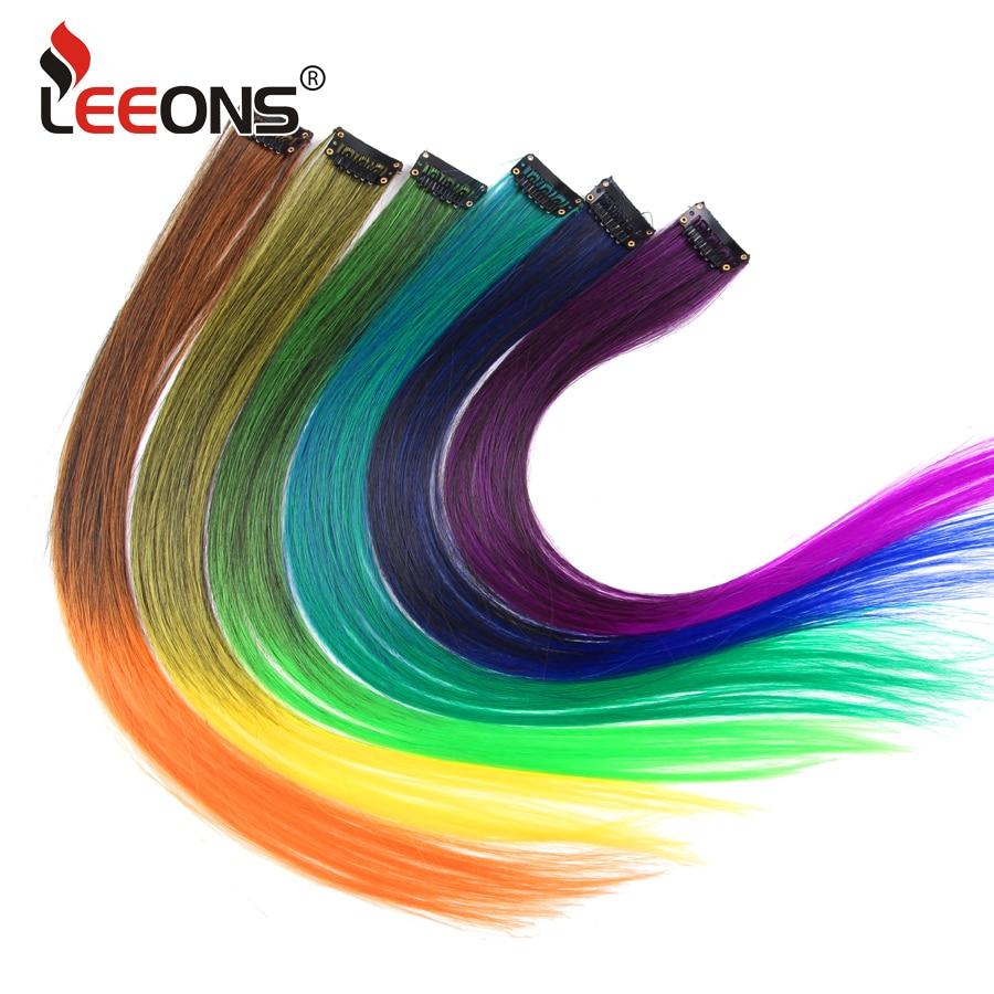 Leeons-extensiones de cabello postizas para mujer, 18 pulgadas de largo, pelo sintético con Clip, rosa, Arco Iris, degradado, pelo impermeable