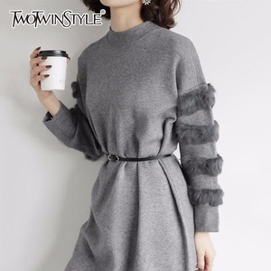 Image 5 - Twotwinstyle inverno pullovers de malha camisola feminina para as mulheres topo manga longa solta tamanho grande grosso quente camisolas jumper roupas