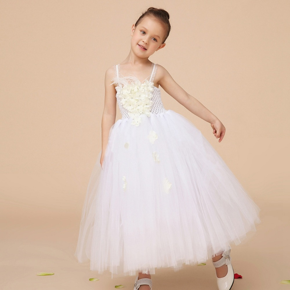 Kids Children Long Ball Gown Flower Girls Baby Girl Princess Mesh Tutu Dress For Birthday Party Wedding Dresses Vestidos S2841 2017 mint high low flower girl dress for wedding with long train crystals ball gown kids 1st birthday party outfits baby dresses