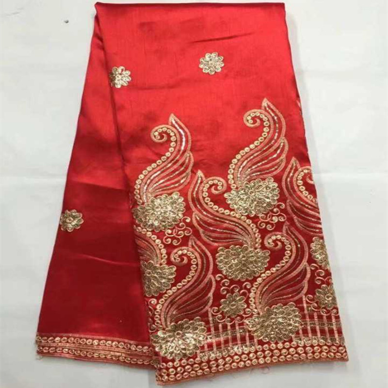 African George Lace Fabric Red Top Quality George Lace Raw Silk George Wrappers 2018 Nigerian Lace Fabric For Wedding 5 Yards 30