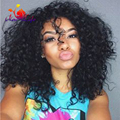 Stock wholesale Premium synthetic lace front wig glueless heat resistant synthetic lace wig Afro Kinky Curly black synthetic wig