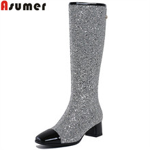 ASUMER big size 34-43 fashion boots women round toe zip knee high boots bling synthetic+cow patent leather boots 2018 new arrive(China)