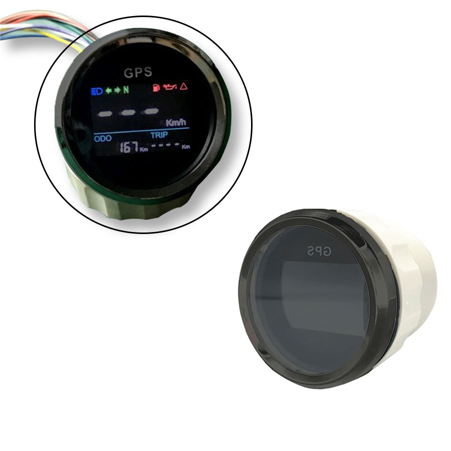 цена New arrival 52mm Motorcycle digital LCD GPS Speedometer Digital Multi-indicators 0~999 Waterproof MPH Knots