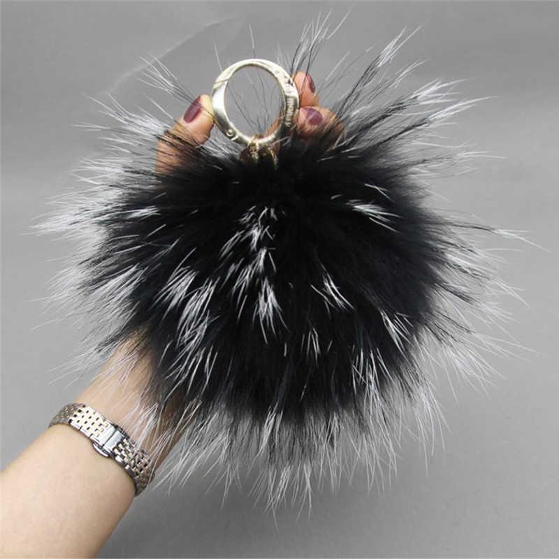 Moda de Luxo High-end 15 CENTÍMETROS Fofo Chaveiro Chaveiro Bola De Pele De Guaxinim Pele Real Fur Pom Pom Keychin pom Pom Mulheres Bag Pingente