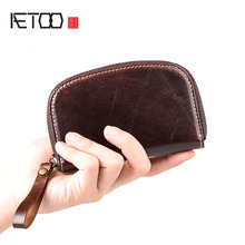 AETOO The first layer of leather key bag men and women multifunctional retro zipper can be installed access card one ti
