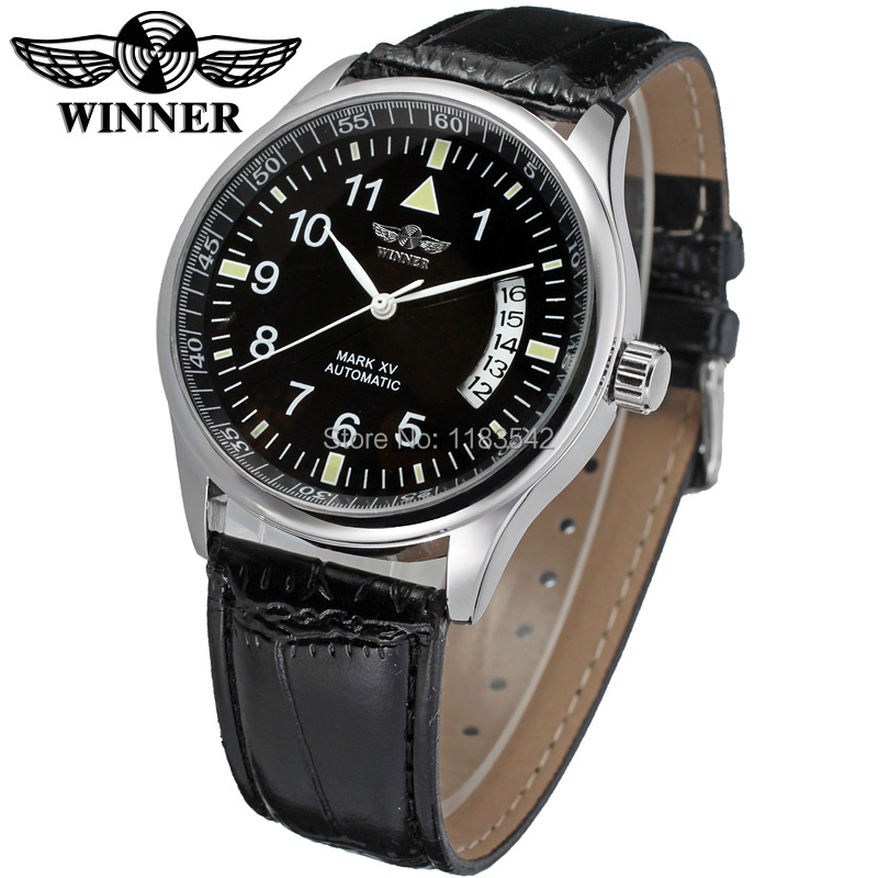 New Winner Casual Automatic Watches Men Hot sale Automatic fashion Men Watch black leather strap Shipping Free WRG8024M3S2 automatic spanish snacks automatic latin fruit machines